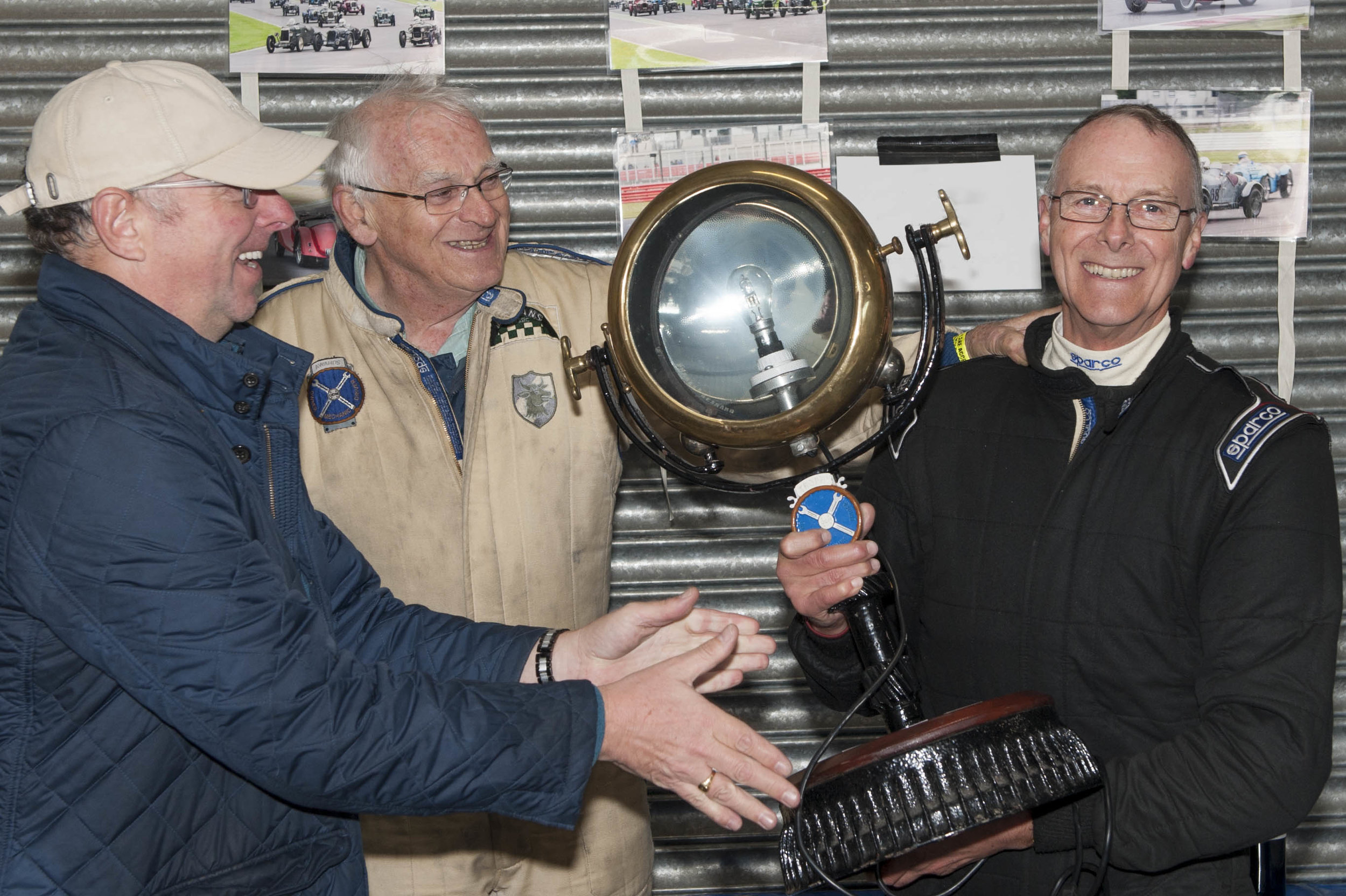 Tim Kneller receives the ODM trophy from Simon Edwards, Patron John Guyatt presiding:  Peter McFadyen