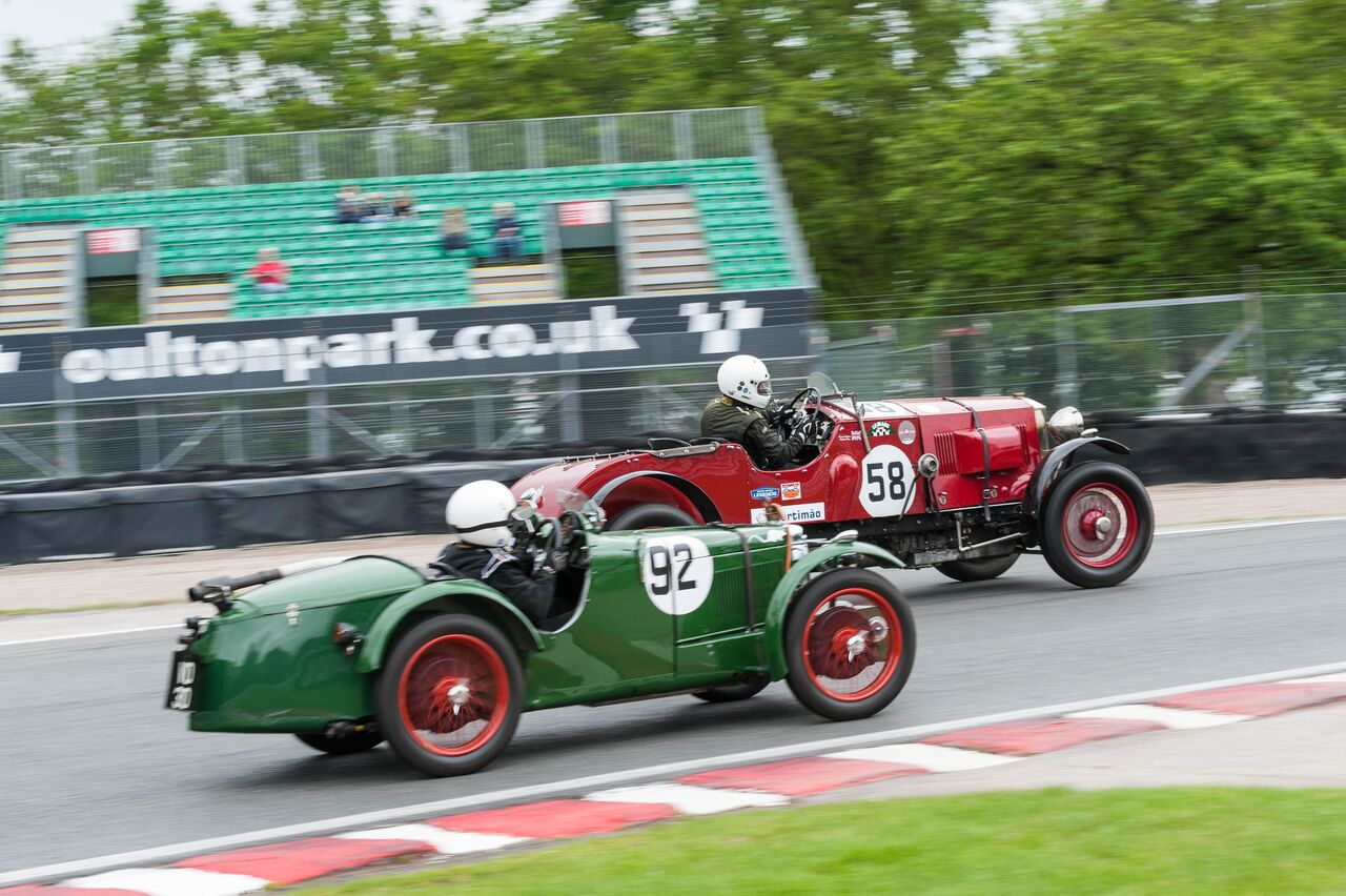 Foster in the MG and Simon Blakeney-Edwards in the Invicta stayed close throughout the race: Peter McFadyen