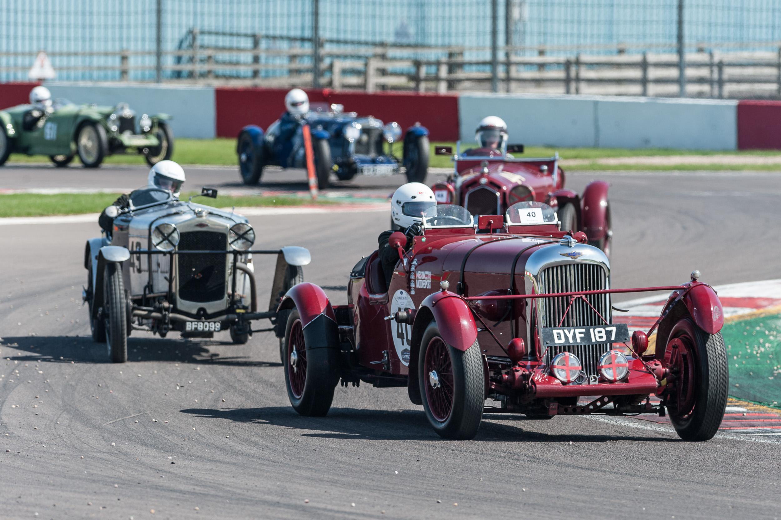 AT the chicane Reay-Smith (Lagonda LG45) leads Johnson (Fraser Nash SS), Rossi (ALfa 1750), Scott-Mackirdy (Aston Martin Le Mans) and Lamb (Riley Brooklands): P eter McFadyen