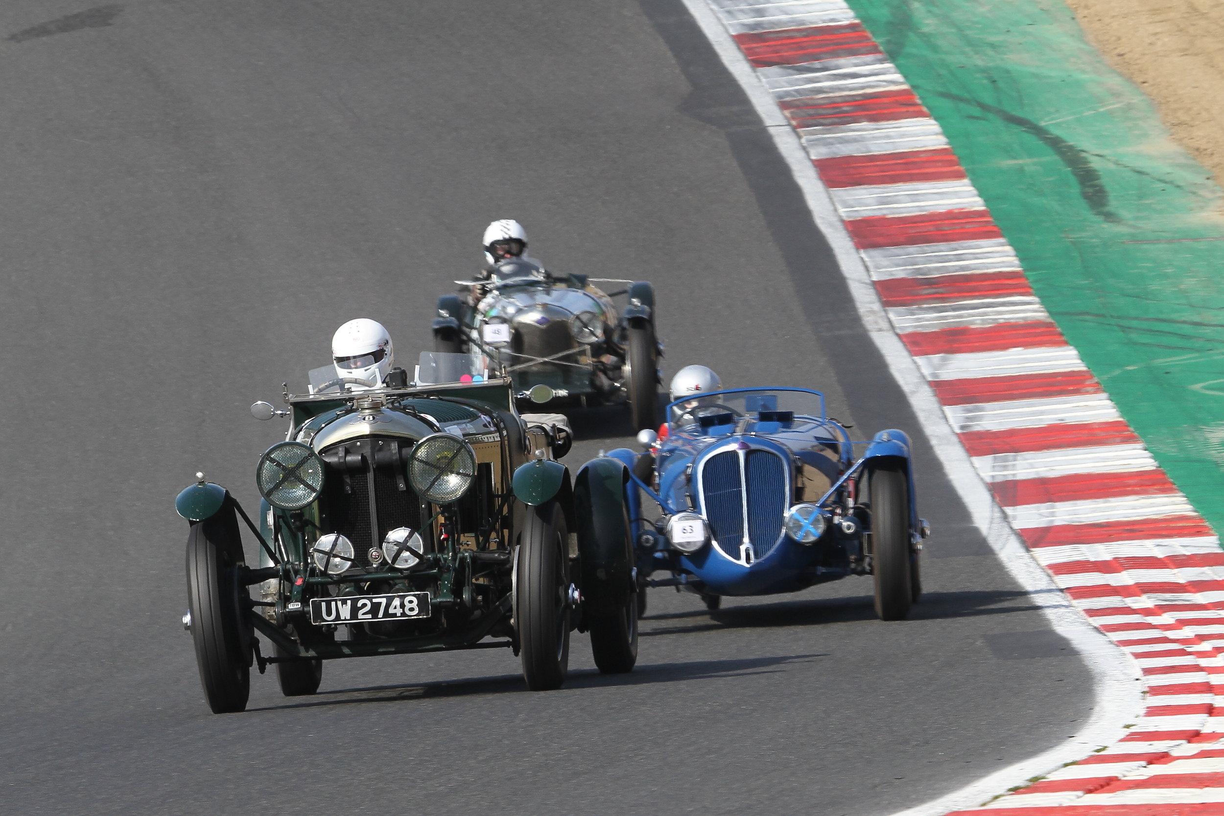 Carter (Bentley 4.5) running ahead of Smith (Delahaye 135S) and Emmerling (Riley Brooklands); Stefanie Broch