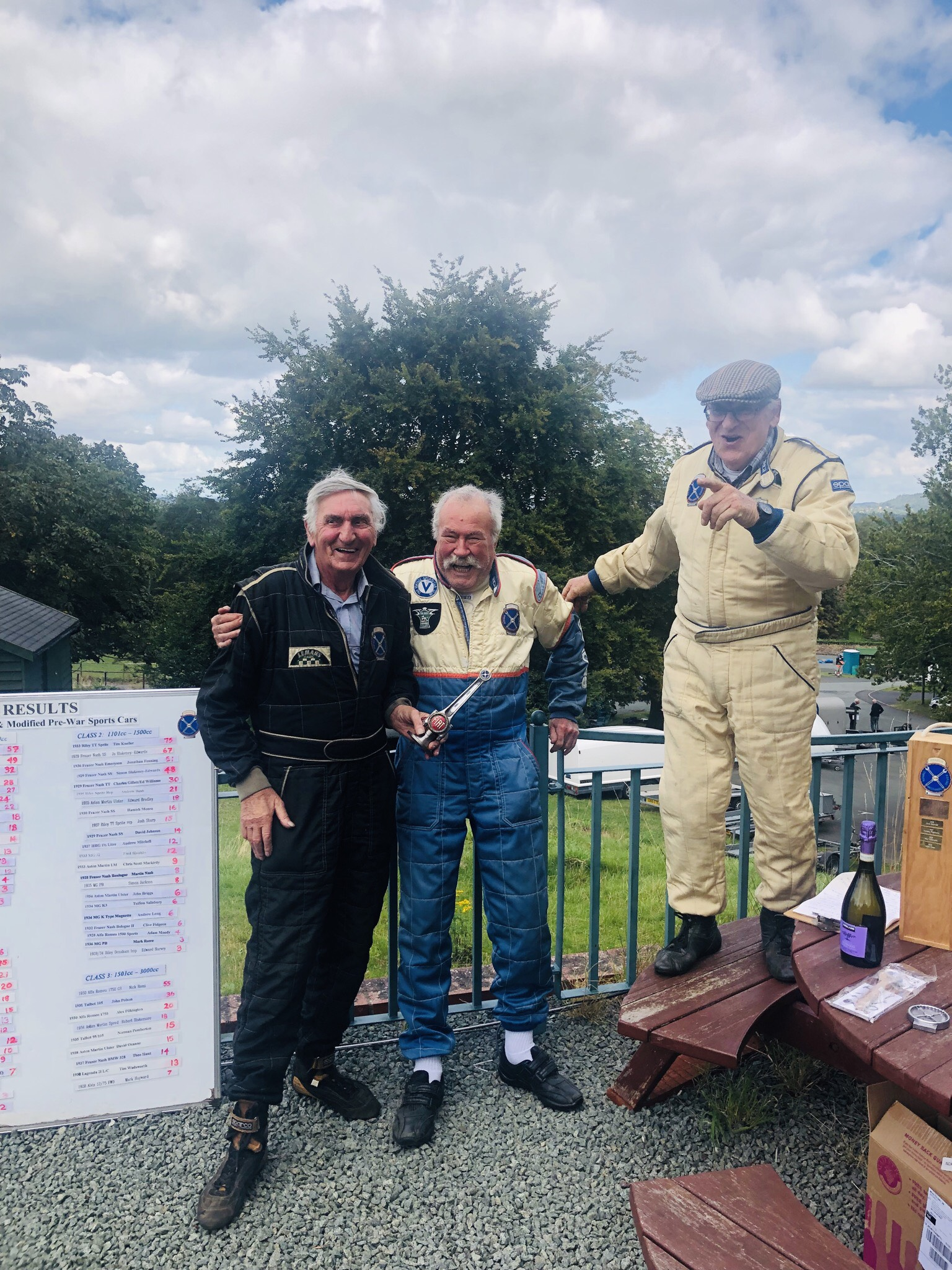 Allen received his Golden Oldie Award from Norman Pemberton at Loton Park; Le Patron presiding: Andy Baker