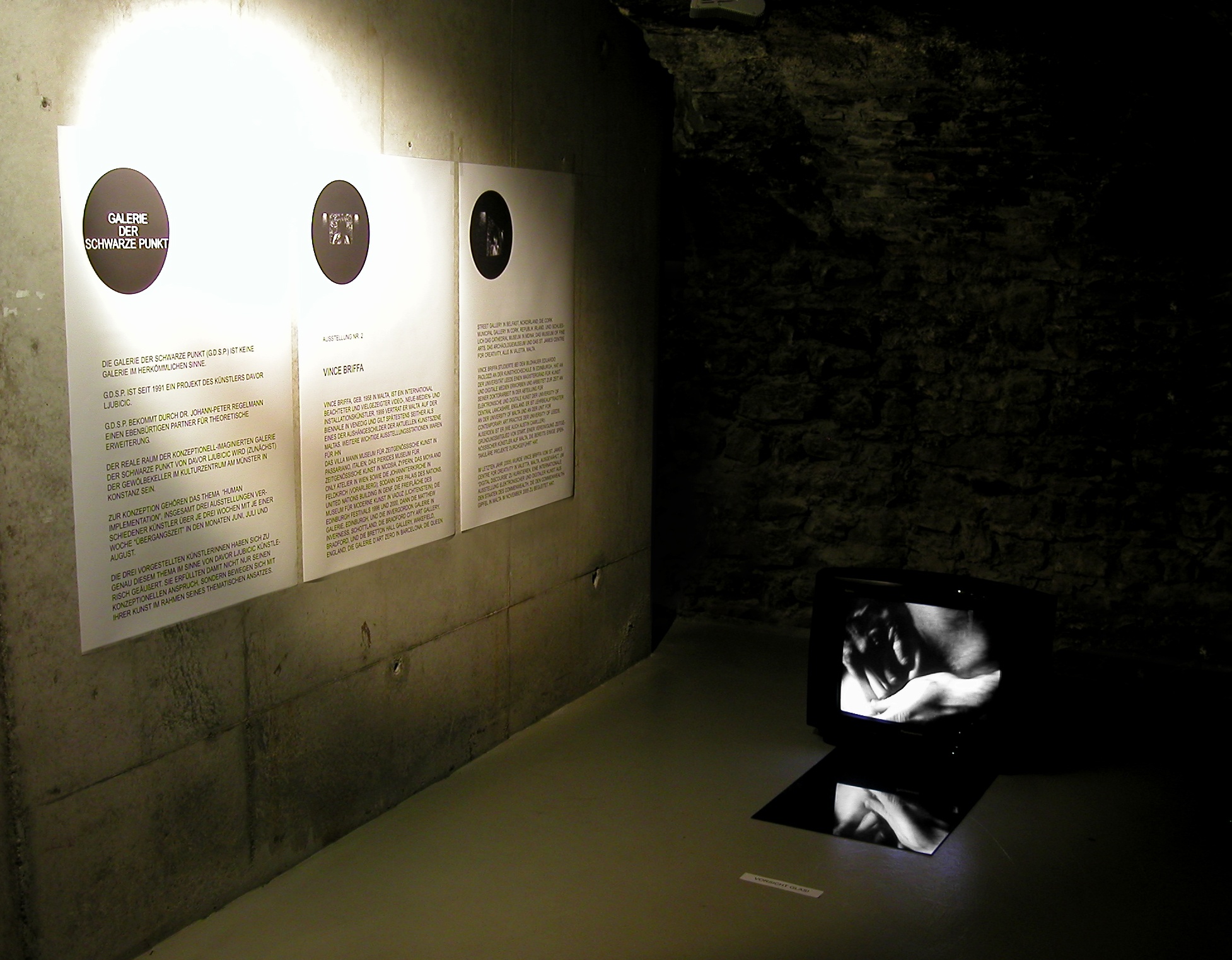 BODY OF GLASS - AFTER CARAVAGGIO,  video and stereo audio and mirror installation,  Galerie der Schwarze Punkt, Konstanz, Germany,2006. Curator:Dr. Johann-Peter Regelmann