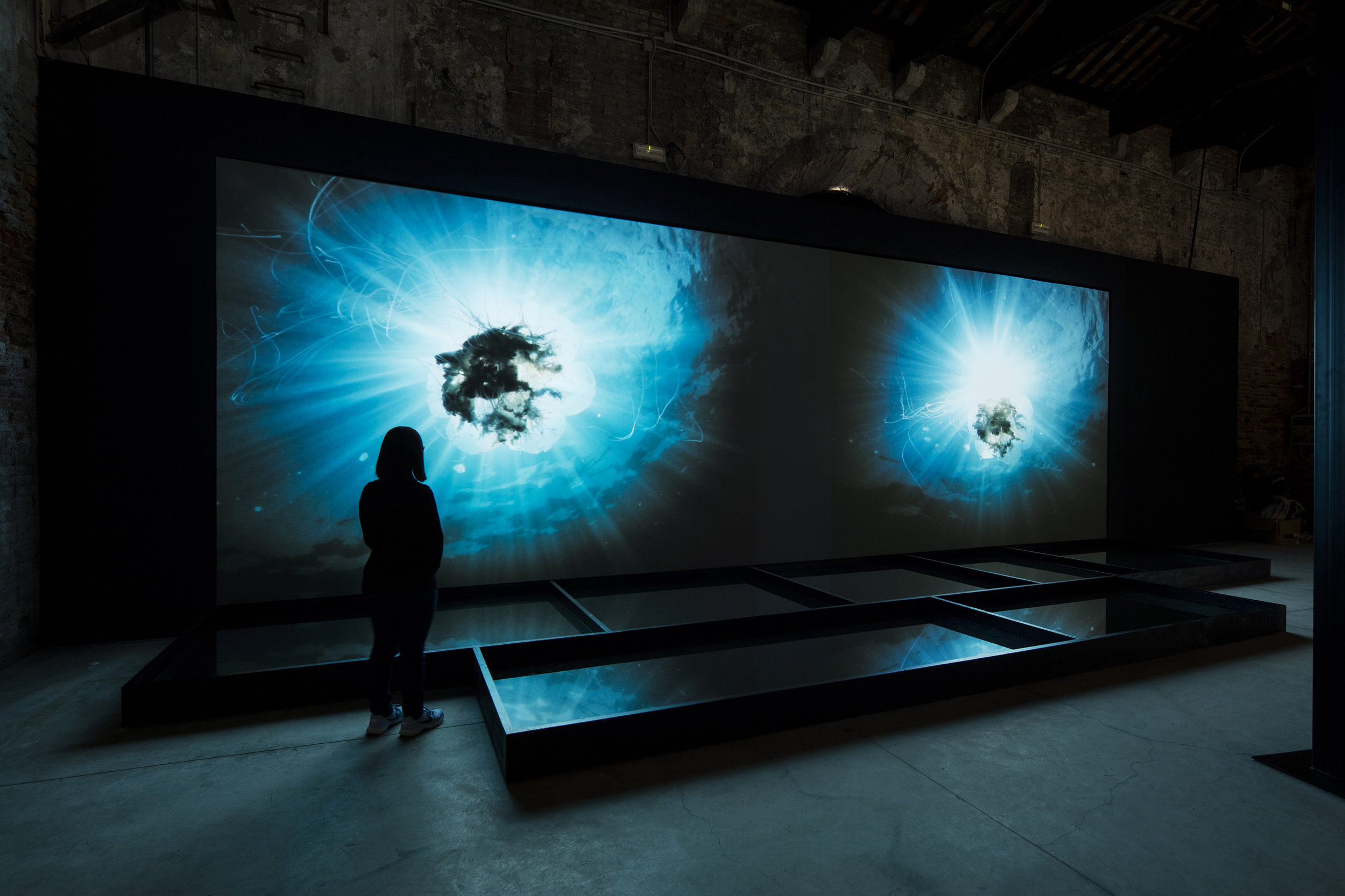 OUTLAND, video, audio, voice, wood and water installation, Malta Pavilion, Venice Art Biennale, 2019 (photography: David Levene)