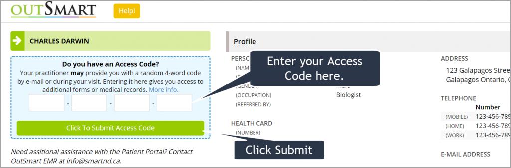 Enter your access code.