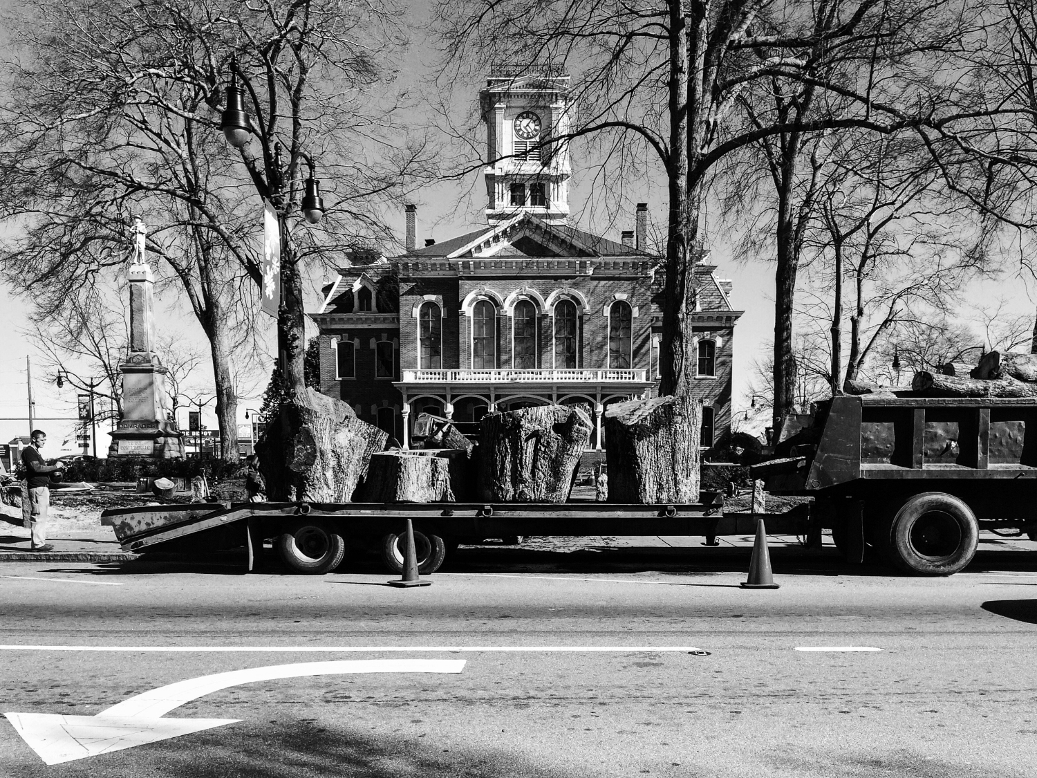 The day the original trees were cut down on the Courthouse lawn