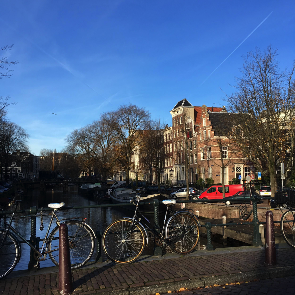 Bicycle travel is very common in the beautiful city of Amsterdam