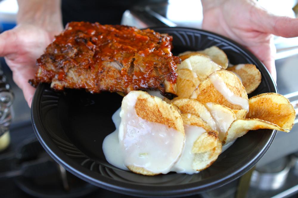 J Gilb baby back ribs and bleu cheese potato chips.jpg