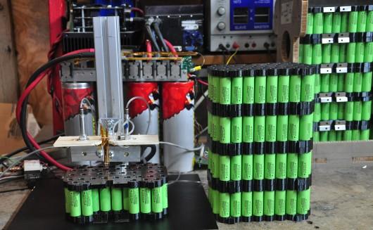 Our custom-built battery welder.