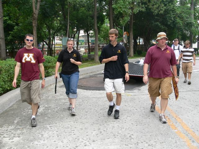 Walking the car around the campus.