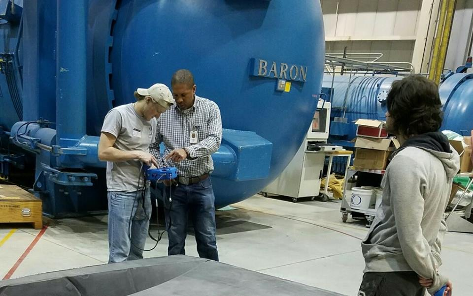 April 3rd 2017  Our shell is nearing completion thanks to Delta Air Lines . Over the past semester, students have been able to use their facilities and gain valuable insight from their engineers. For Rafael Seferyan and Kory Soukup , one such learning experience was completing Carbon Delamination Inspection with the guidance of a Delta engineer. Thanks again to  Delta Air Lines for their support of our project!