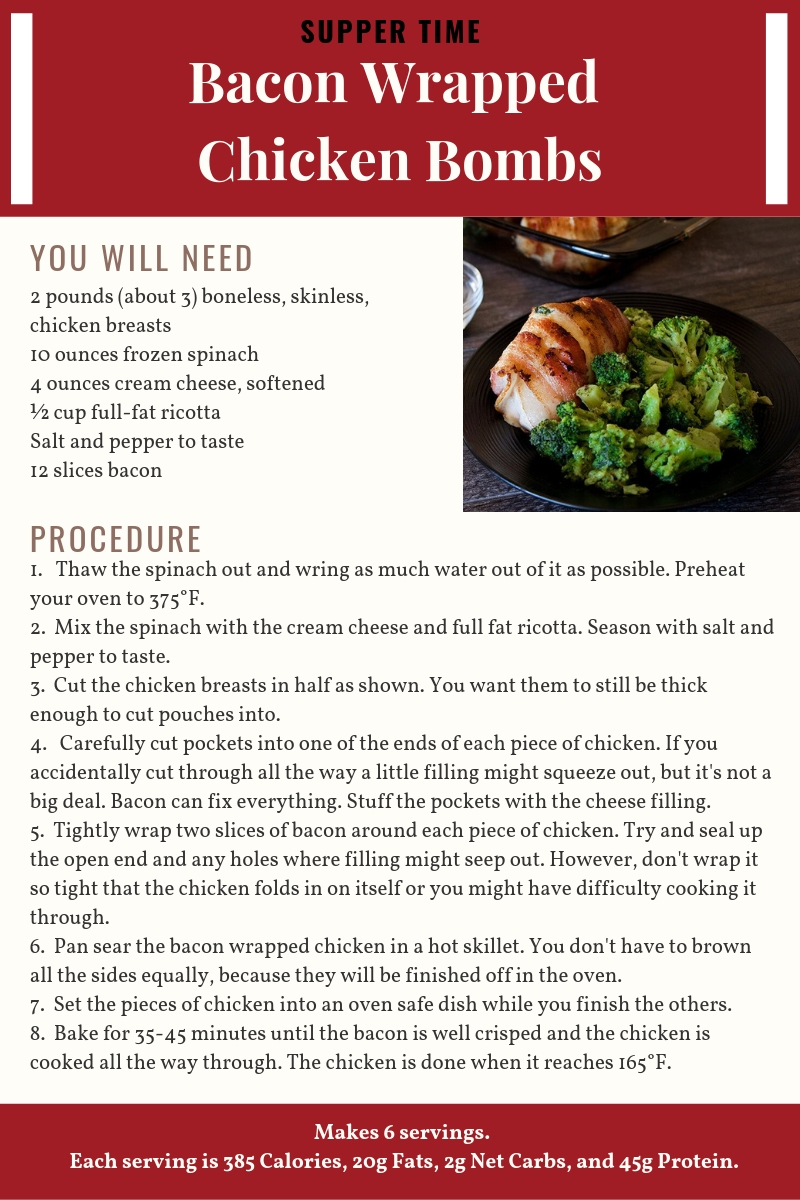 Bacon Wrapped Chicken Bombs Recipe Card
