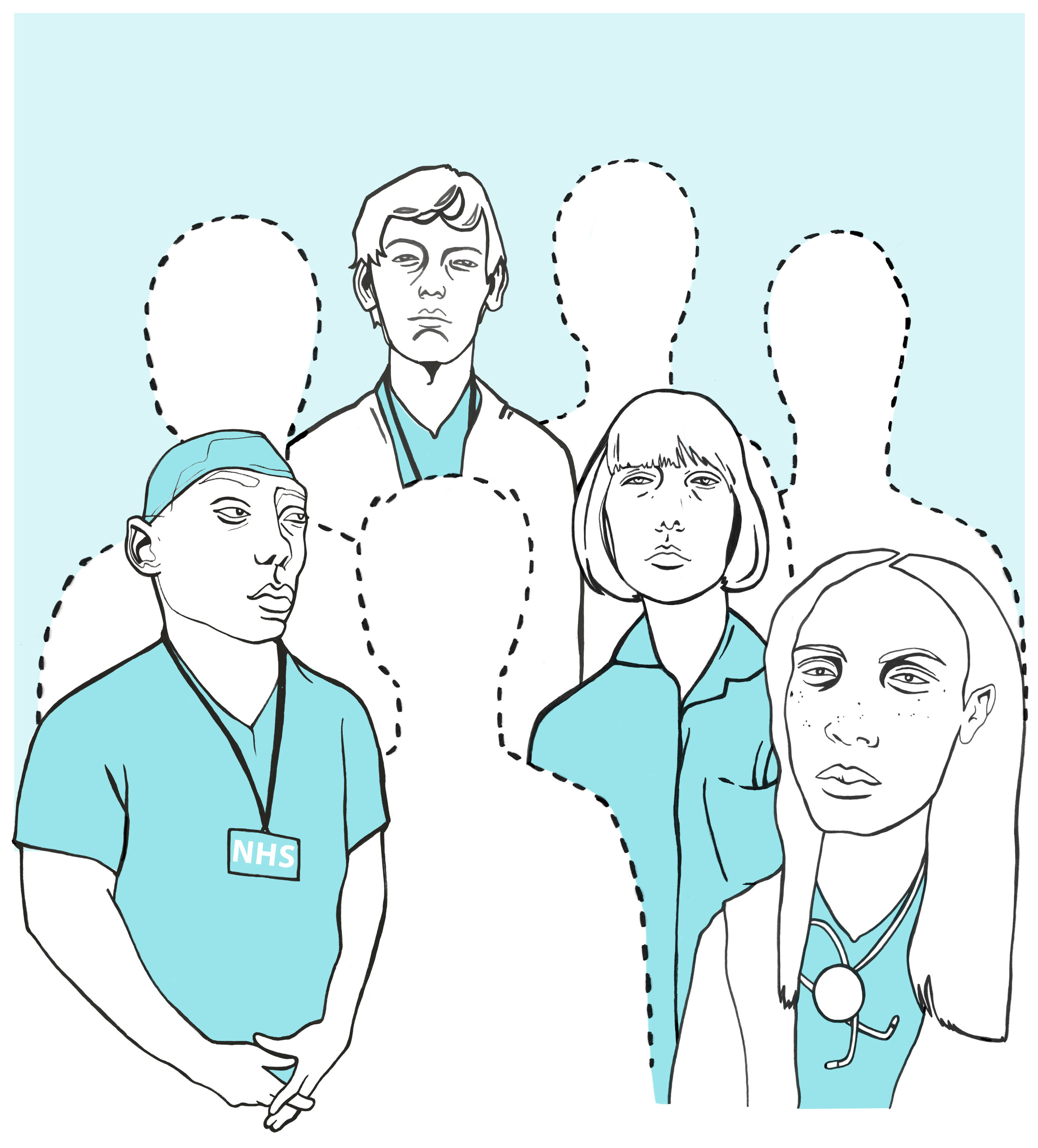 Cover illustration for The Bristol Cable about NHS staff mental health and illness