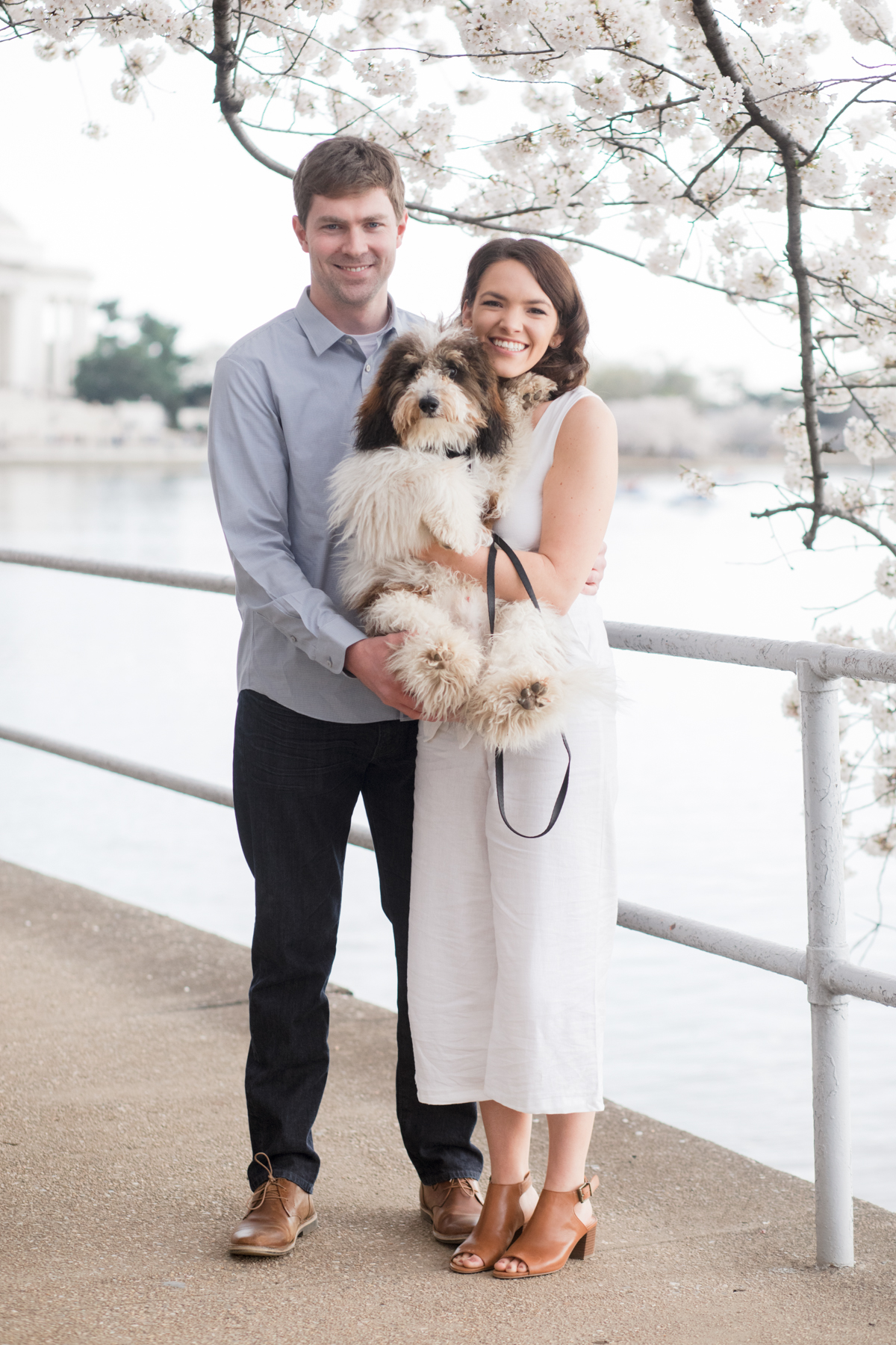 The Yoshino blossoms line the Tidal basin and set the dreamy backdrop for the adorable couple and their sweet pup.