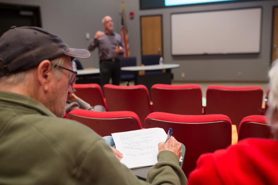 Taking notes during David Hughen's lecture