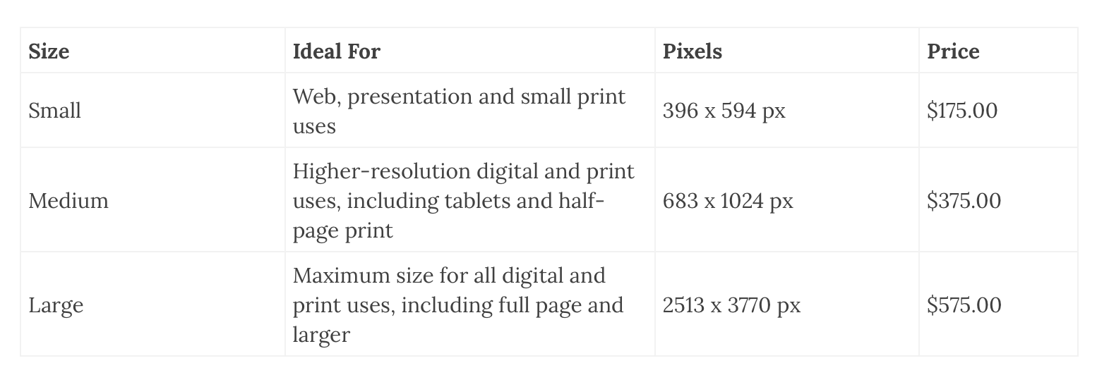editorial pricing & sizes