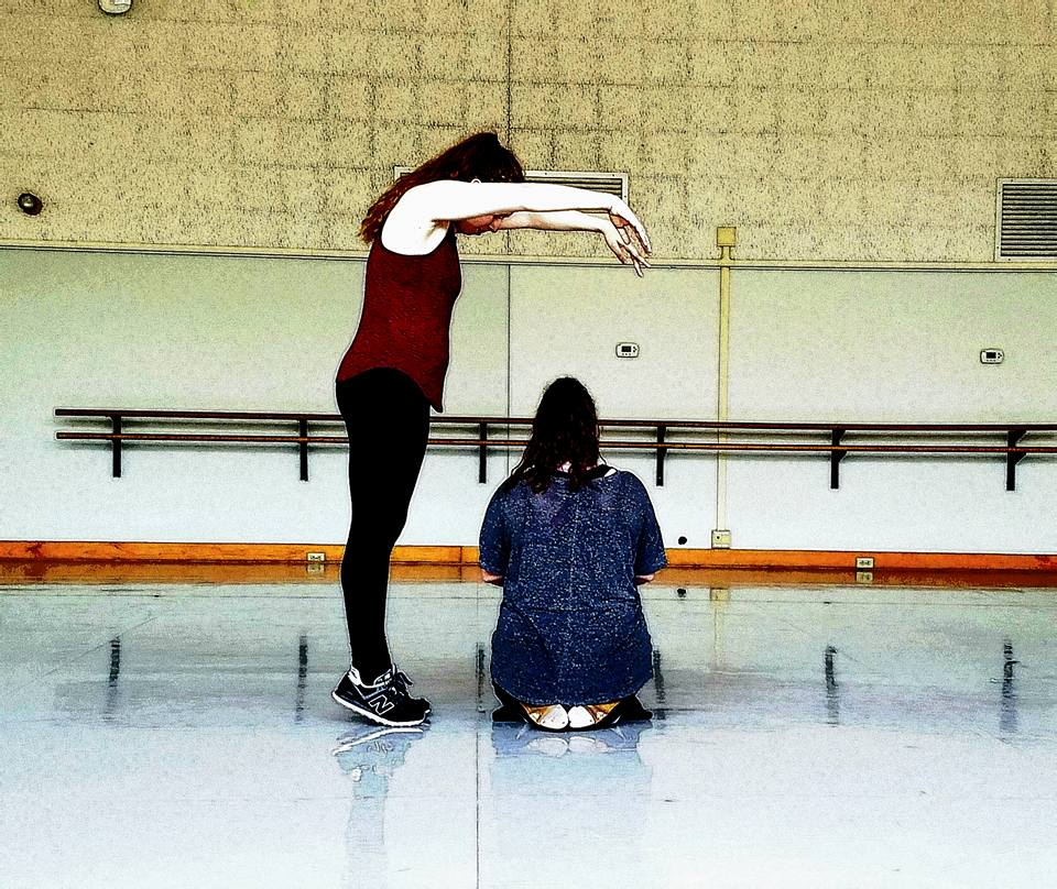 Alexis Miller (Left) and Lauren Mendelson (Right) rehearsing P.S.  Photo by Charlie Maybee