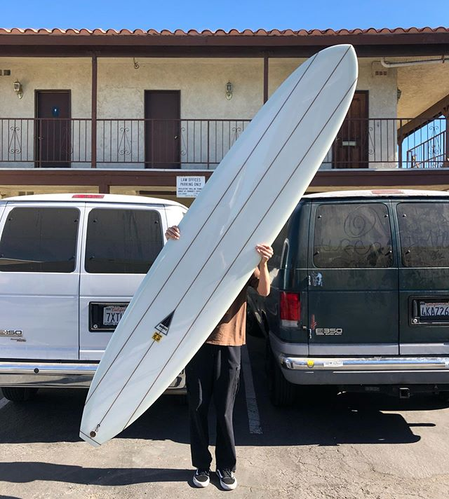 The TS Shape at 9'8 - finished with standard triple stringers and high density foam tail block now added to the rack. #TSshape #harboursurfboards #60years #since1959