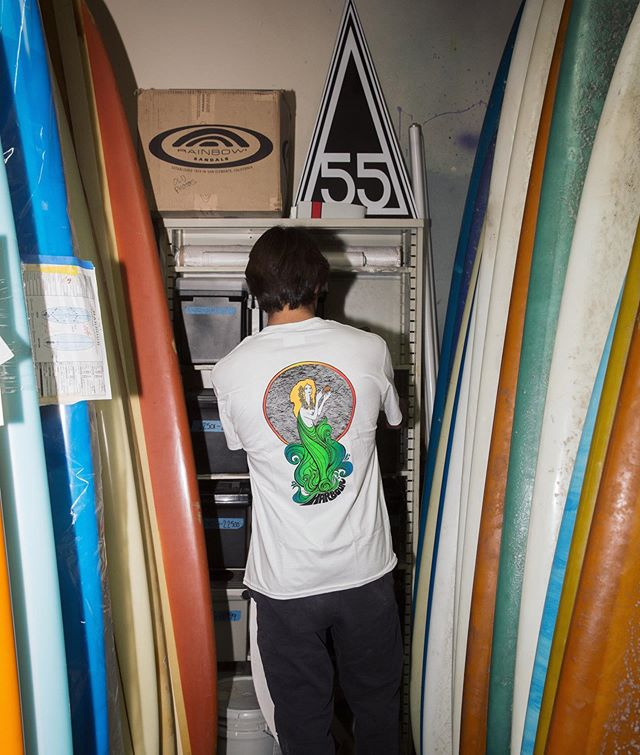 The Sea Nymph Tee - a shop classic now restocked. Available in white, in-store and online. #harboursurfboards #since1959