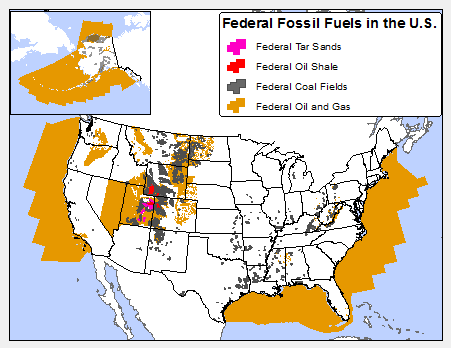 Map 1. Federal fossil fuels in the United States. Courtesy of the Center for Biological Diversity.