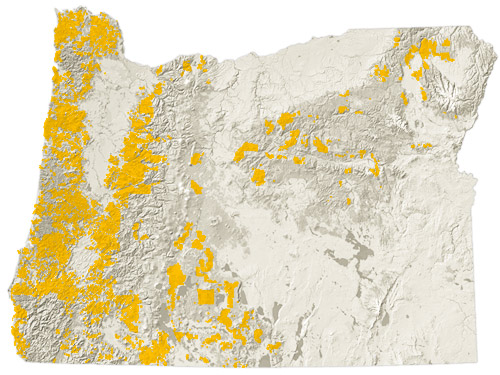 5,933,000 acres of Oregon is large private industrial timberland..  Source: Oregon Forest Resources Institute.