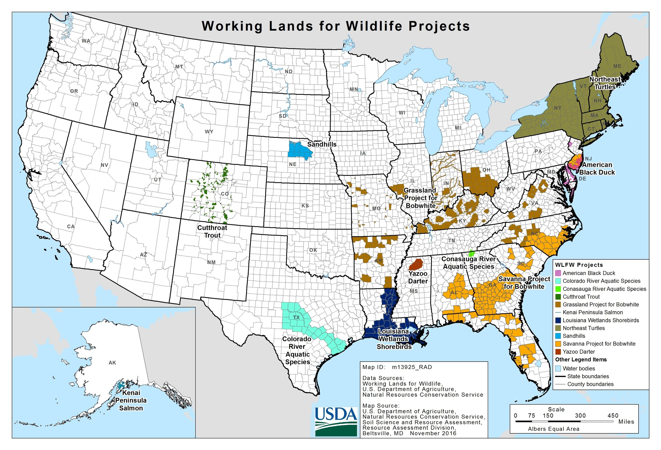 """Map 2. A """"working landscape"""" is one where the land is worked a bit less to allow wildlife to persist. A national wildlife refuge is land where wildlife can thrive.  Source: USDA NRCS."""