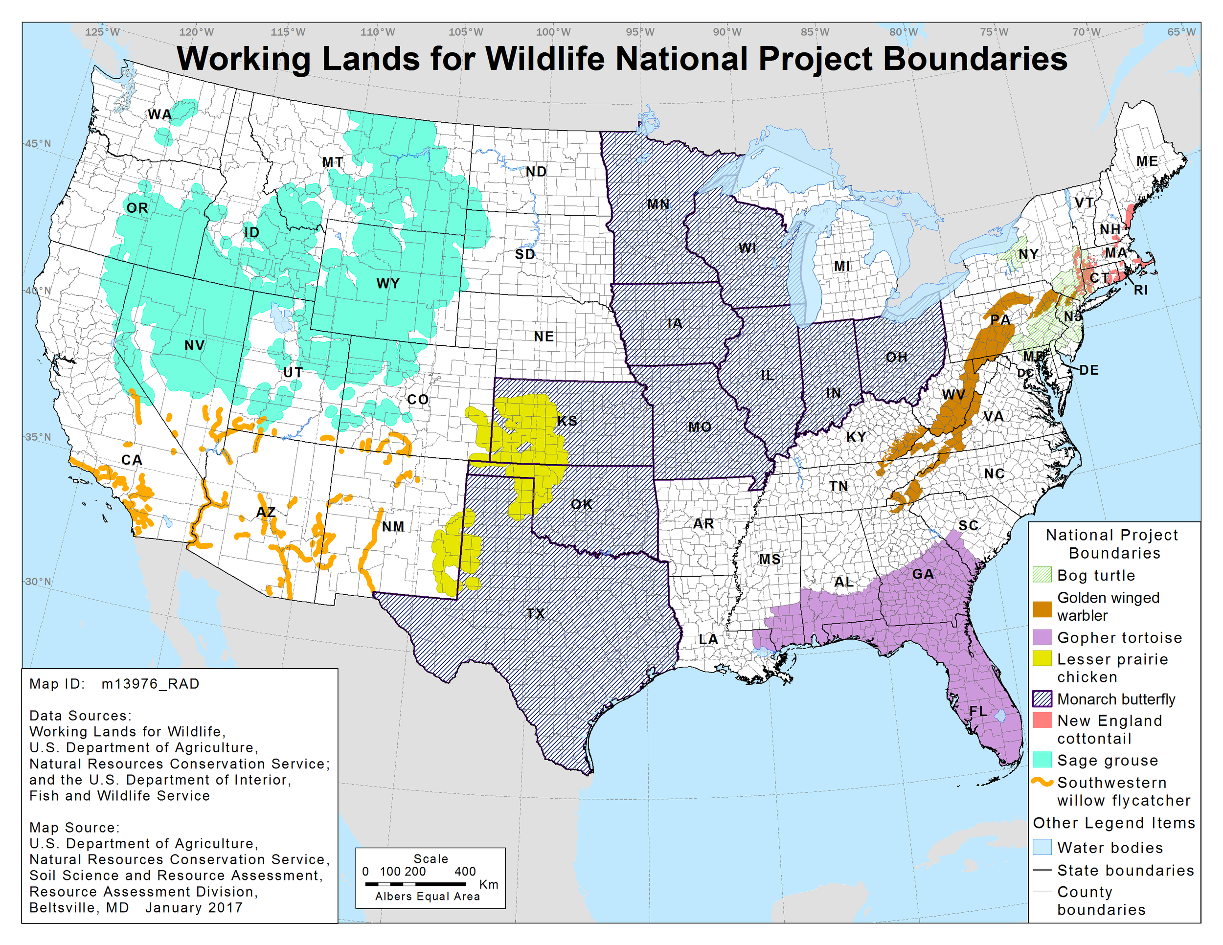 Map 1.  President Obama's USDA Natural Resources Conservation Service has identified several imperiled species upon which it is concentrating conservation efforts available under the farm bill.  Source: USDA NRCS.
