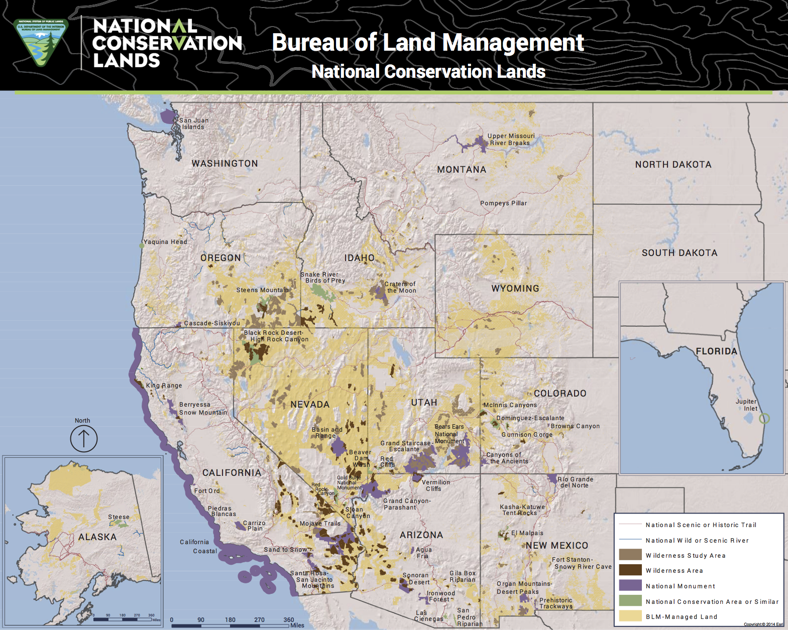"""I get paid to be paranoid, so I noticed that this map (click on """"BLM"""" after """"Source:"""" at end to get a much more detailed version), done in August 2017 does  not  show the expanded Cascade-Siskiyou National Monument along the Oregon-California border. It does show other Obaman BLM national monuments, so perhaps it is just an innocent bureaucratic oversight.  Source:  BLM"""