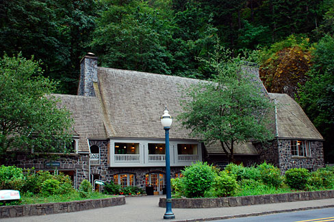 Multnomah Falls Lodge has an extremely flammable wooden roof of the era.   The Forest Service spent extraordinary sums to save the iconic lodge from its own imprudent management.  Source: Gary Halvorson, Oregon State Archives.