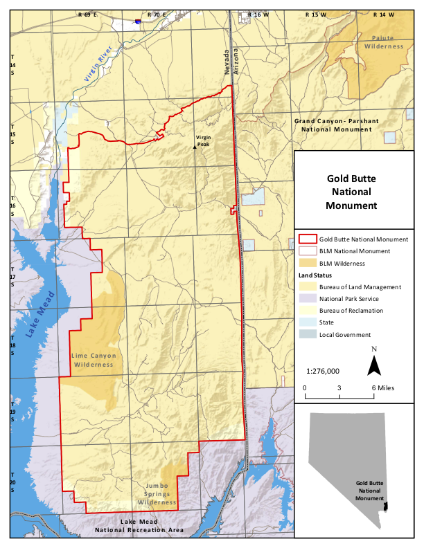 Gold Butte National Monument (proclaimed by President Obama in 2016) is bounded to the west and south by Lake Mead National Recreation Area (established by Congress in 1936) and to the east by Grand Canyon–Parashant National Monument (proclaimed by President Clinton in 2000). The unincorporated census tract known as Bunkerville is near Mesquite, Nevada, near Interstate 15.  Source: Bureau of Land Management.
