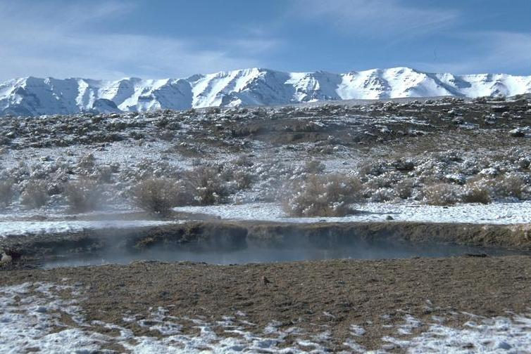 In 2000, I helped persuade Congress to extend special protections to Steens Mountain (background). We tried to include the vast desolately enchanted landscape to the each, including Mickey Hot Springs (foreground), but had to settle for a mere mineral withdrawal. At least there will never be geothermal exploitation of Mickey and several other other springs.    Source: Bureau of Land Management.