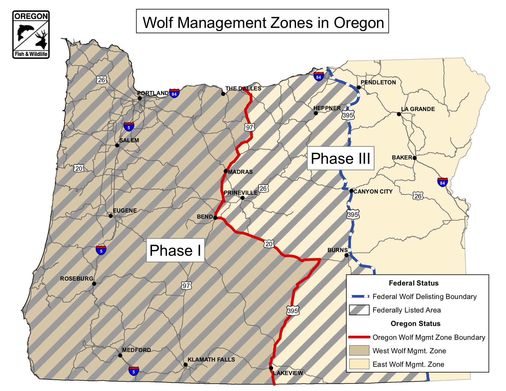 Map 2.  For Oregon wolves, the danger isn't being in the middle of the road but east of the road. Source:  Oregon Department of Fish and Wildlife