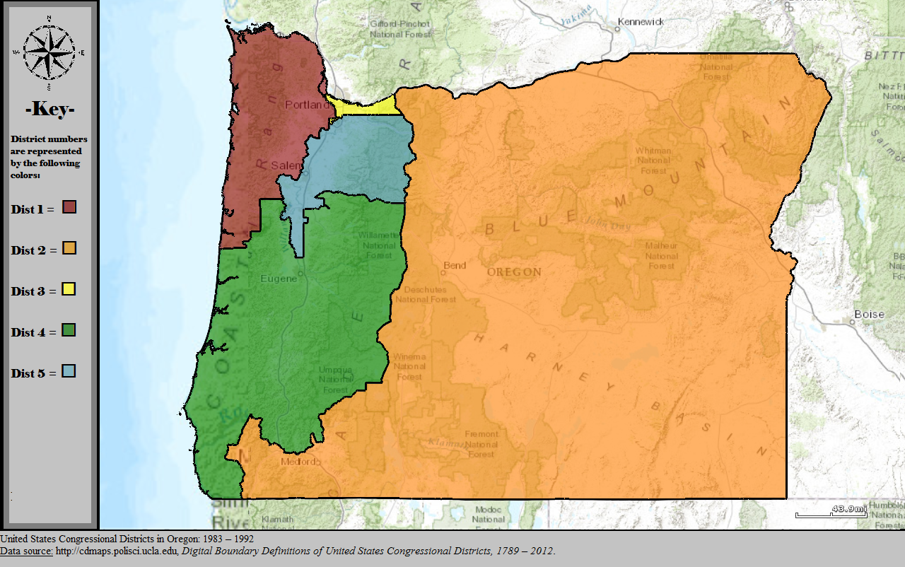 - Map 3. Oregon's new five congressional districts after the 1980 census. The inclusion of part of Jackson County in the 2nd district politically facilitated construction of the Elk Creek Dam.Source: Wikipedia