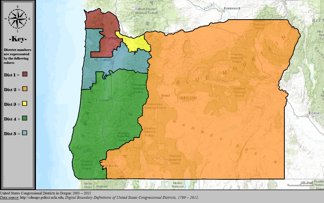 - Map 5. Oregon's congressional districts after the 2000 census. More relatively minor tweaking was done to adjust for population changes. The Oregon 3rd expanded in size and only the urban part of Josephine County (a.k.a. greater Grants Pass) remained in the Oregon 2nd. Source: Wikipedia