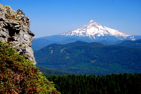 Figure 1.  Mount Hood is within the Mount Hood Wilderness (established in 1964, and expanded in 1978 and 2009). The picture was taken from Larch Mountain near the Mark O. Hatfield Wilderness (established in 1984 and expanded in 2009) . Source: Gary Halvorson, Oregon State Archives