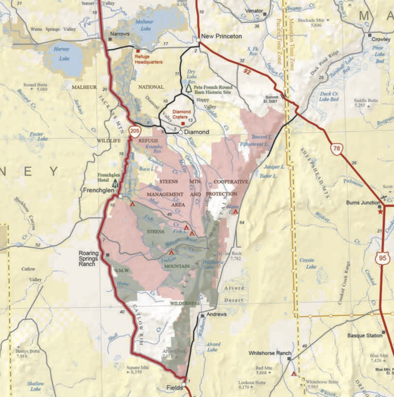 Figure 1. A snippet of the Official State Map of Oregon. Source: Oregon Department of Transportation .