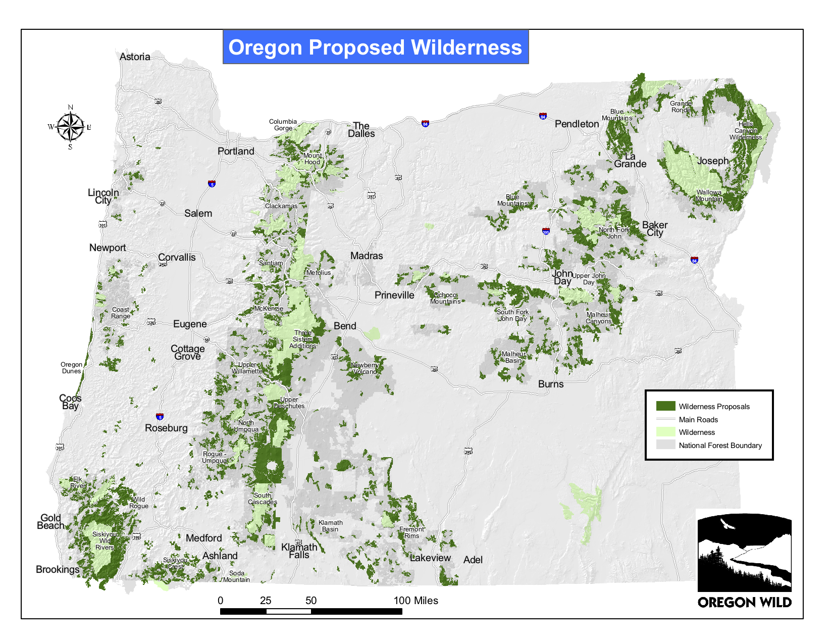 Map 1.  Protected and potential Oregon forest wilderness lands . Source:  Oregon Wild .