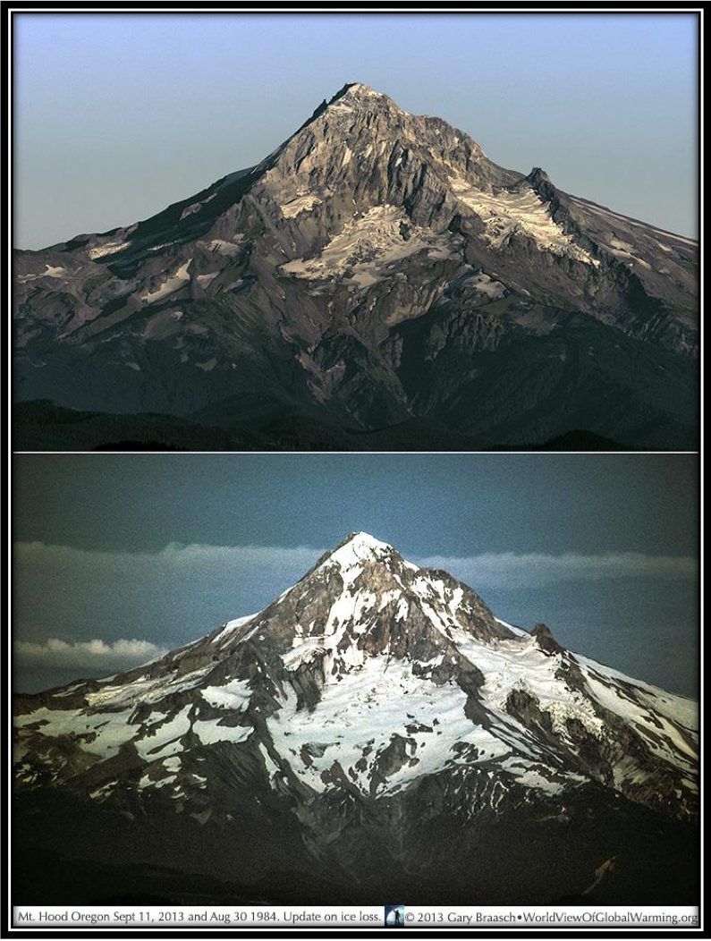 - Figure 9. From the cover of the Oregon Global Warming Commission Biennial Report to the Legislature 2017. The late great Oregon photographer Gary Braaschtook these photos of Oregon's Mount Hood in the late summers of 1984 (bottom) and 2013 (top). It's not a case of a bad snow year but rather a bad glacier century. Original source: Braasch Environmental Photography.