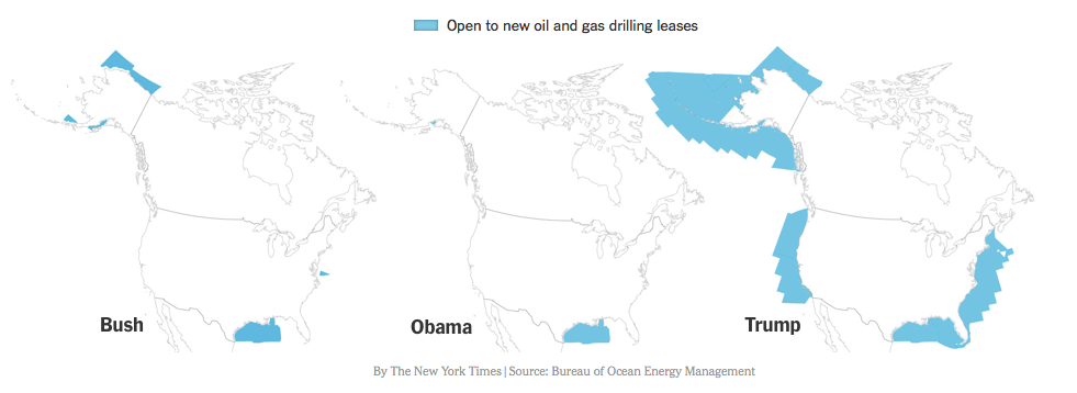 Figure 2. Areas of the Outer Continental Shelf (OCS) open to new oil and gas drilling under three presidents.  The Trump administration proposes opening most of the OCS to oil and gas exploitation. Source:  New York Times