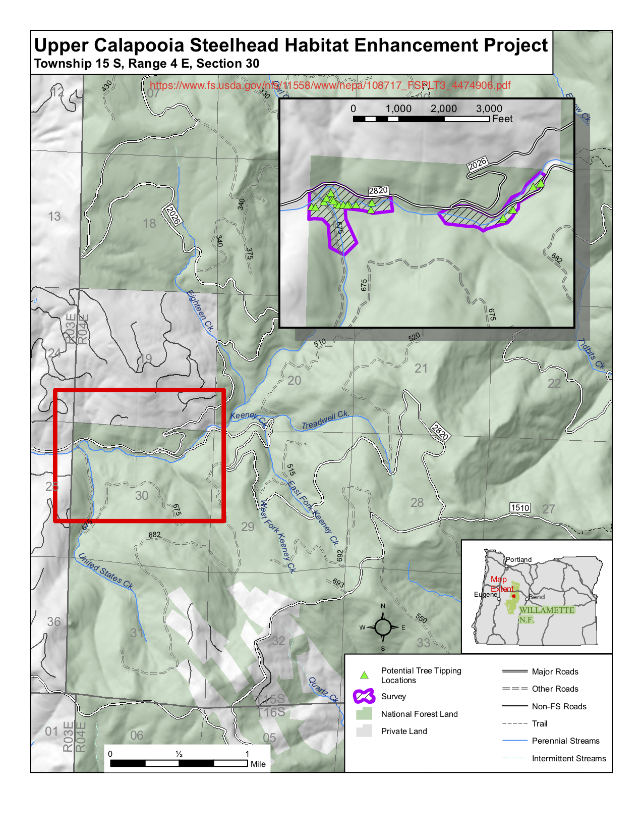 "The Upper Calapooia Steelhead Enhancement Project of the USDA Forest Service, which proposes to ""improve"" fish habitat on the uppermost Calapooia River by pushing over very large and very old trees.  Source:  USDA Forest Service ."