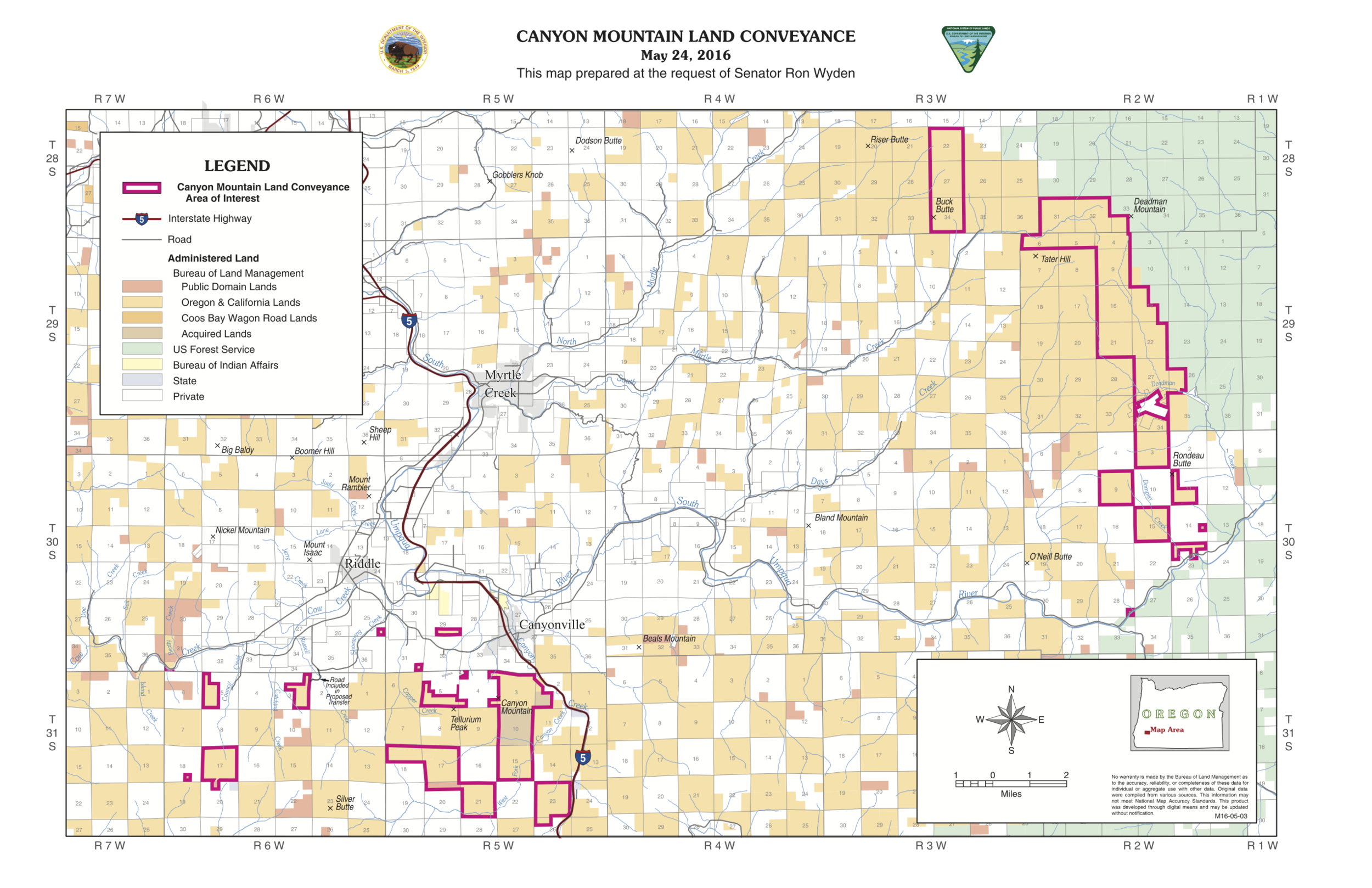 Map 2.  Federal public lands given to the Cow Creek Band of Umpqua Tribe of Indians . Source:  Committee on Natural Resources of the US House of Representatives .