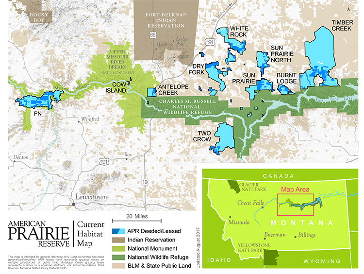 Map 1.  A screenshot of an online interactive map. Dark green: Charles M. Russell National Wildlife Refuge; light green: Upper Missouri River Breaks National Monument (Bureau of Land Management, or BLM); dark blue: American Prairie Reserve holdings; light blue: BLM grazing permits and leases attached to APR holdings; and brown: Indian Reservation.  Source:  American Prairie Reserve .