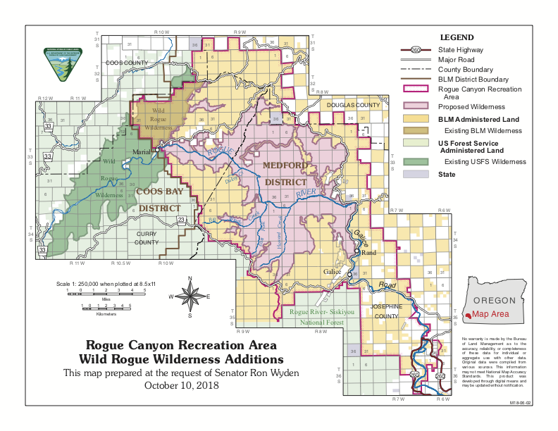 Map 1.  Protections for the lower Rogue River Canyon in the proposed Oregon Wilderness Act of 2018. Walden opposed the Wild Rogue Wilderness expansion (pink) and the Rogue Canyon NationalRecreation Area (outlined in red).  Source: Senator Ron Wyden.