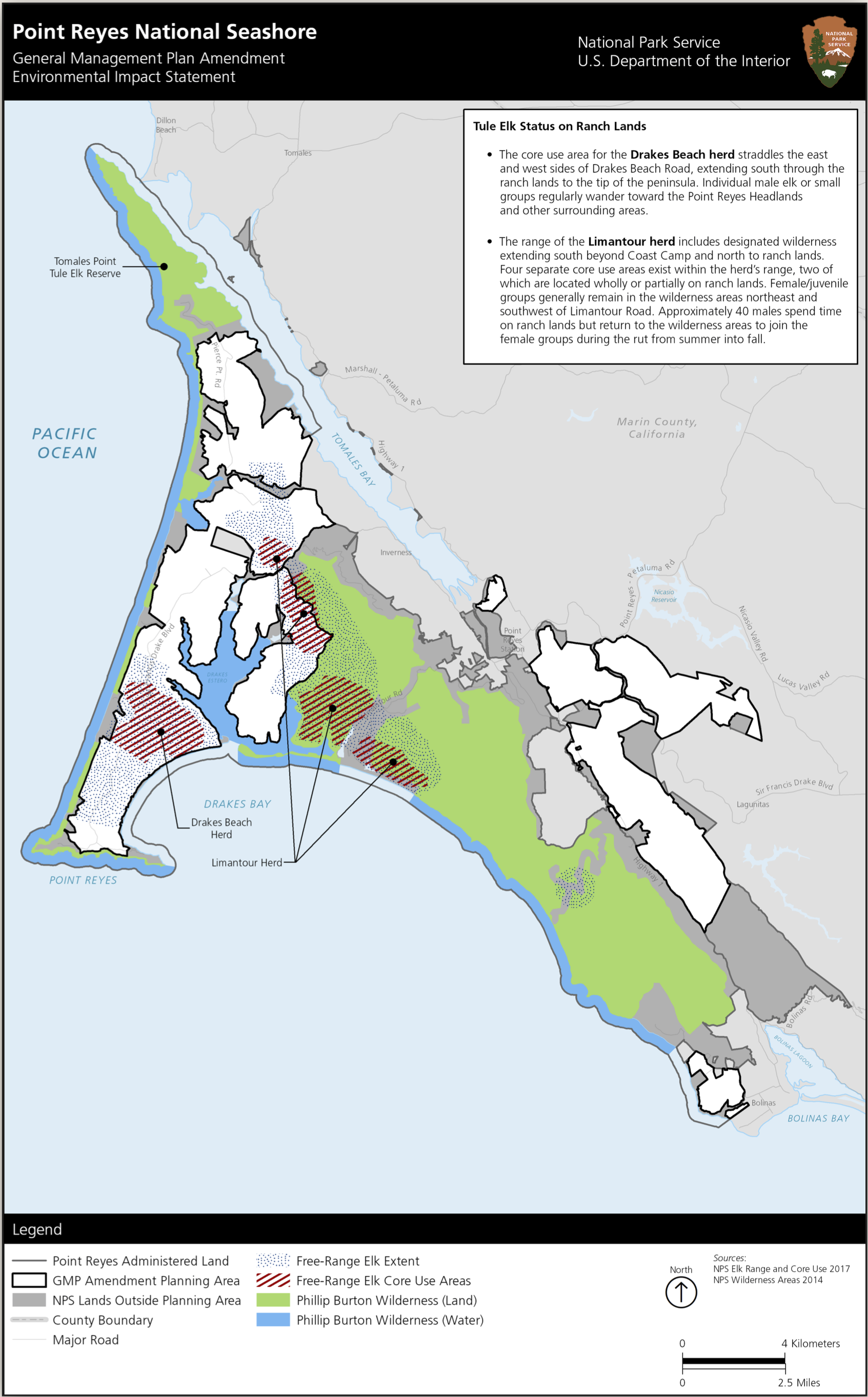 Map 3.  The white polygons are active livestock ranches within Point Reyes National Seashore. Not shown is the non-free-range tule elk area on Tomales Point at the north end, where the elk are fenced by the NPS to prevent their free movement. Source: National Park Service.