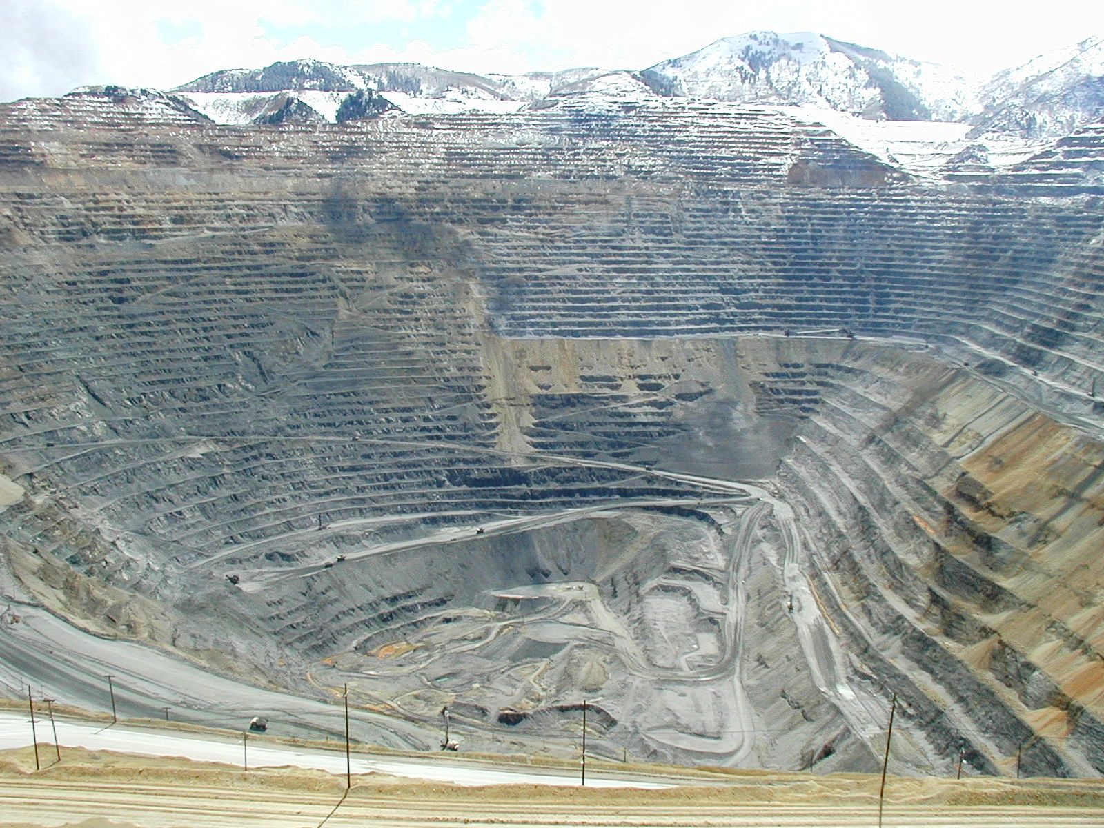 - Fig. 1. Rio Tinto's Bingham Canyon Mine in Utah—0.6 miles deep, 2.5 miles wide, and covering 1,900 acres—is the largest open pit mine in North America and is still expanding.Source: Wikipedia.