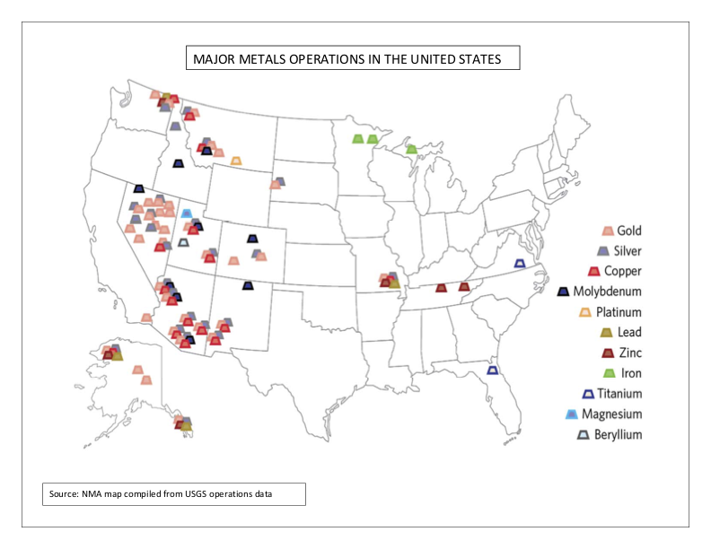 Fig. 2.  Some major metals operations are on federal public lands, while others are not.  Source:  National Mining Association .
