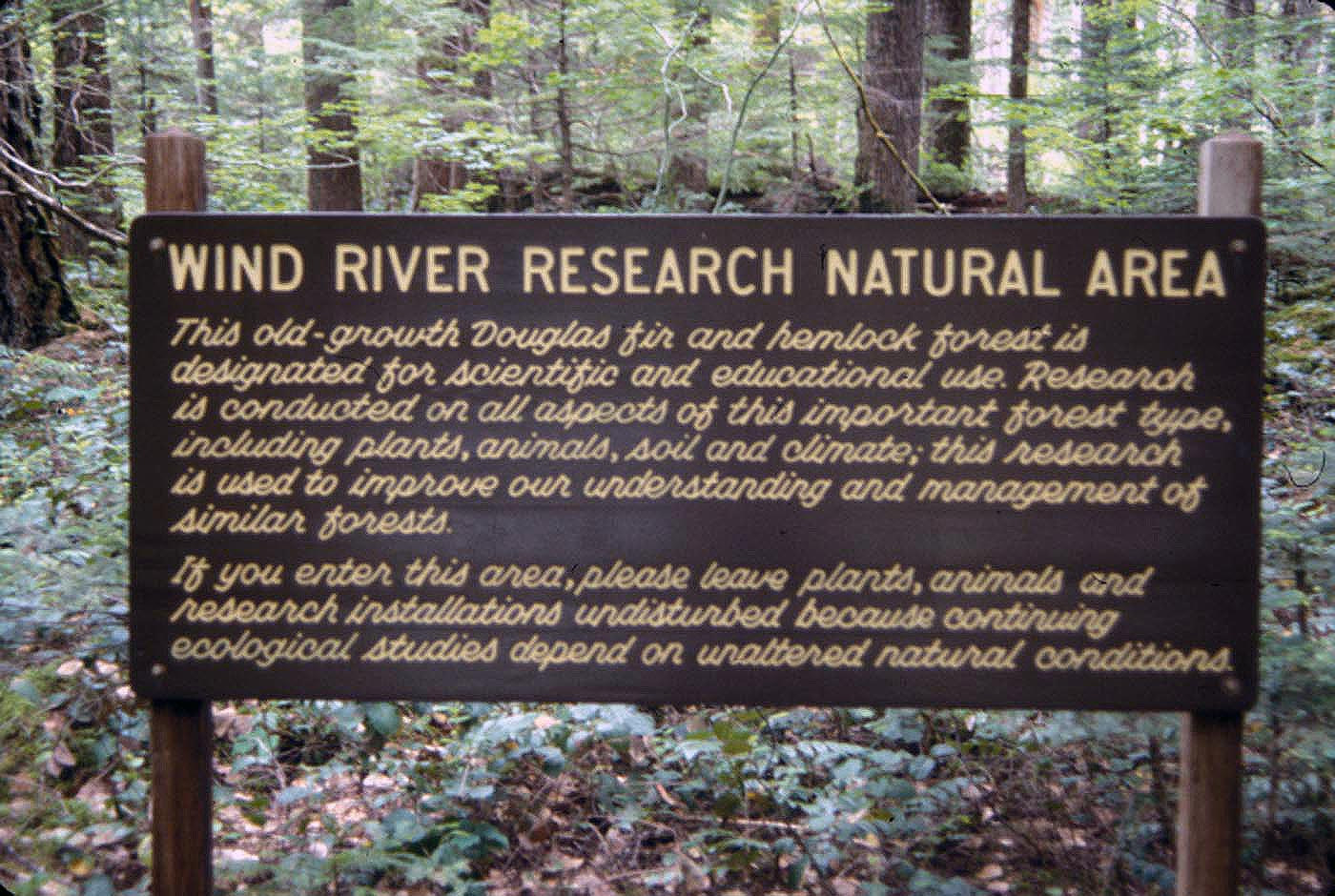 - Fig. 2. Hardrock mining in research natural areas, such as this one (now named the Thornton T. Munger RNA) on the Gifford Pinchot National Forest, Washington, needs to be statutorily banned. (Perhaps one of the research projects is how well cursive writing works carved into outdoor interpretive signs.) Source: USDA Forest Service.