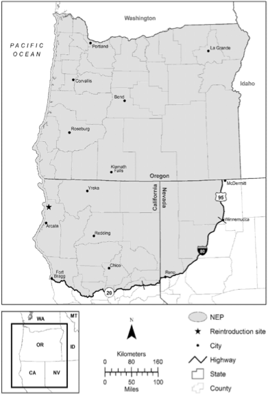 Fig. 5.  The boundaries of the nonessential experimental population of California condors in the Pacific Northwest . Source:  US Fish and Wildlife Service .