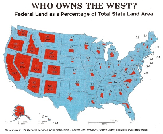 Map 1.  Federal land as a percentage of total state land area. Depending on how you feel about federal public lands, one side of the map speaks more to you than the other . Source:  Defend Rural America .