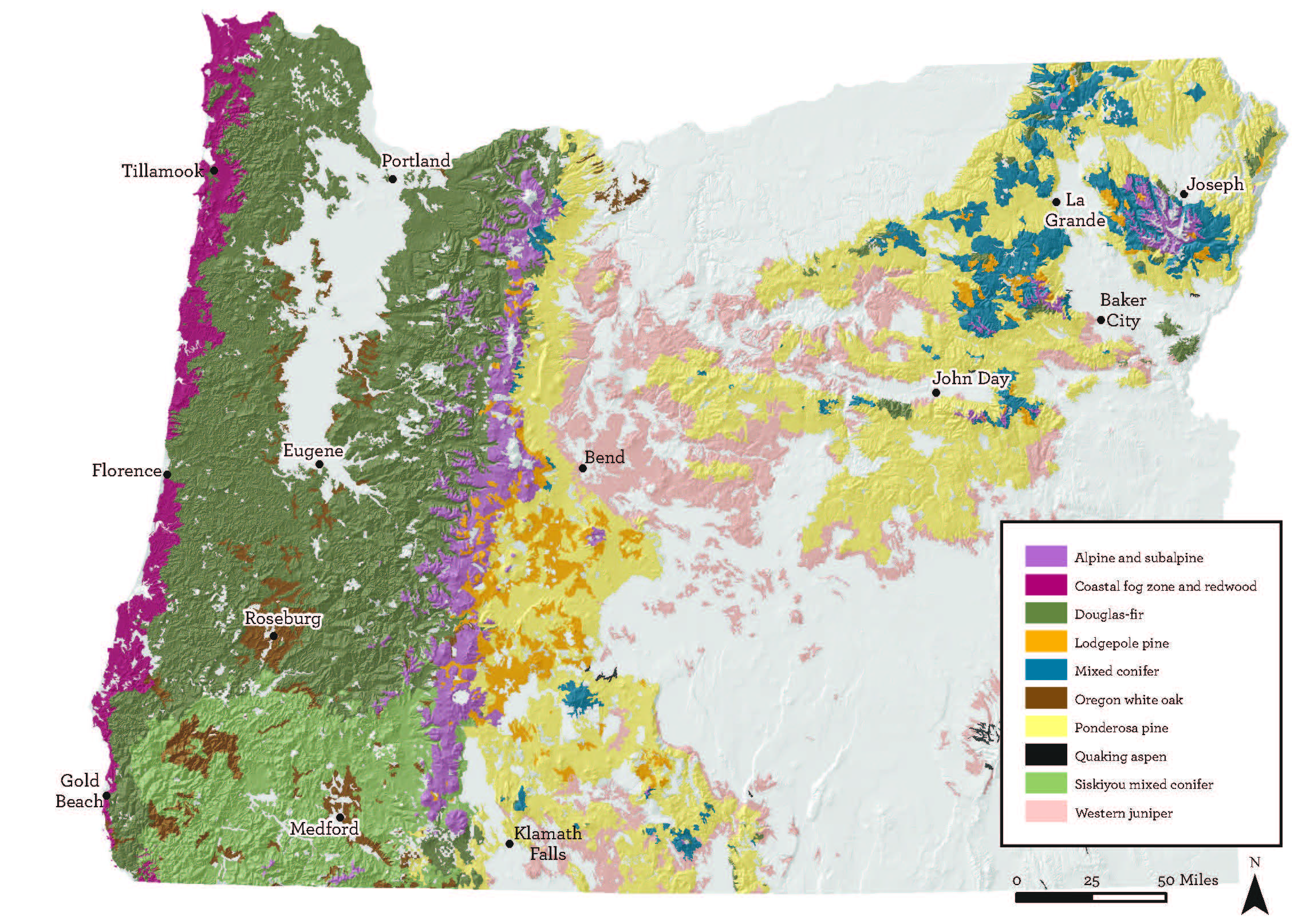 Map 2.  The hikes are distinguished by forest type and other features. Oregon has ten major forest types and within them multiple refinements of distinct vegetative communities . Source:  Oregon Wild .