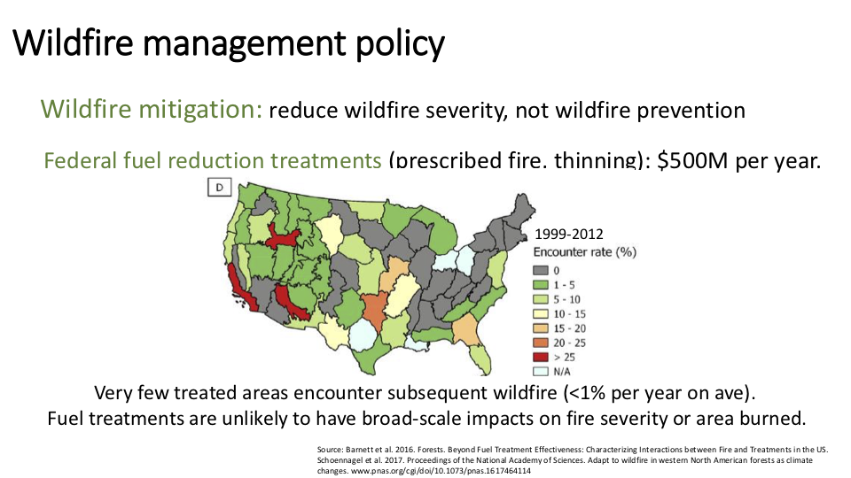 "Figure 14 . For all the money spent ""thinning"" the forest to reduce the risk or intensity of wildfire, on average such thinned areas encounter a wildfire about 1 percent of the time . Want to improve the odds? To get ""thinning"" (commonly pronounced ""logging"") to have a one-in-three chance of encountering a fire, first double the budget. Then double it again. Again with the doubling. Then another doubling. Now double it one more time. Not only does this require a thirty-two-fold increase in the budget (something Congress is not likely to do), it's enough to clear-cut every acre of federal forest once and for all ."